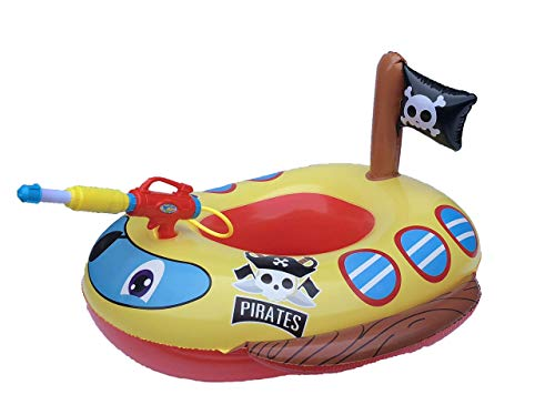 Big Summer Inflatable Pirate Boat Pool Float for Kids with Built-in Squirt Gun, Inflatable...