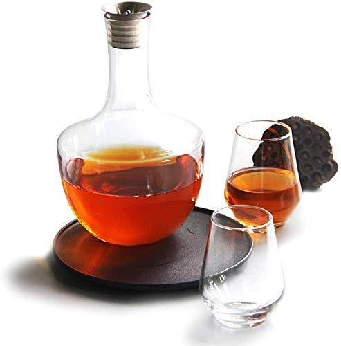 CAONIDAYE Decantador Whisky Decanter Jarra con tapón, Rojo aireador de Vino 100% Soplado sin Plomo de Cristal con Vino Vertedor Caño, Vino Accesorios Regalo