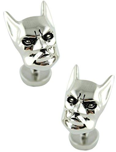 masgemelos Manschettenknöpfe Batman Kopf 3d Silber Cufflinks