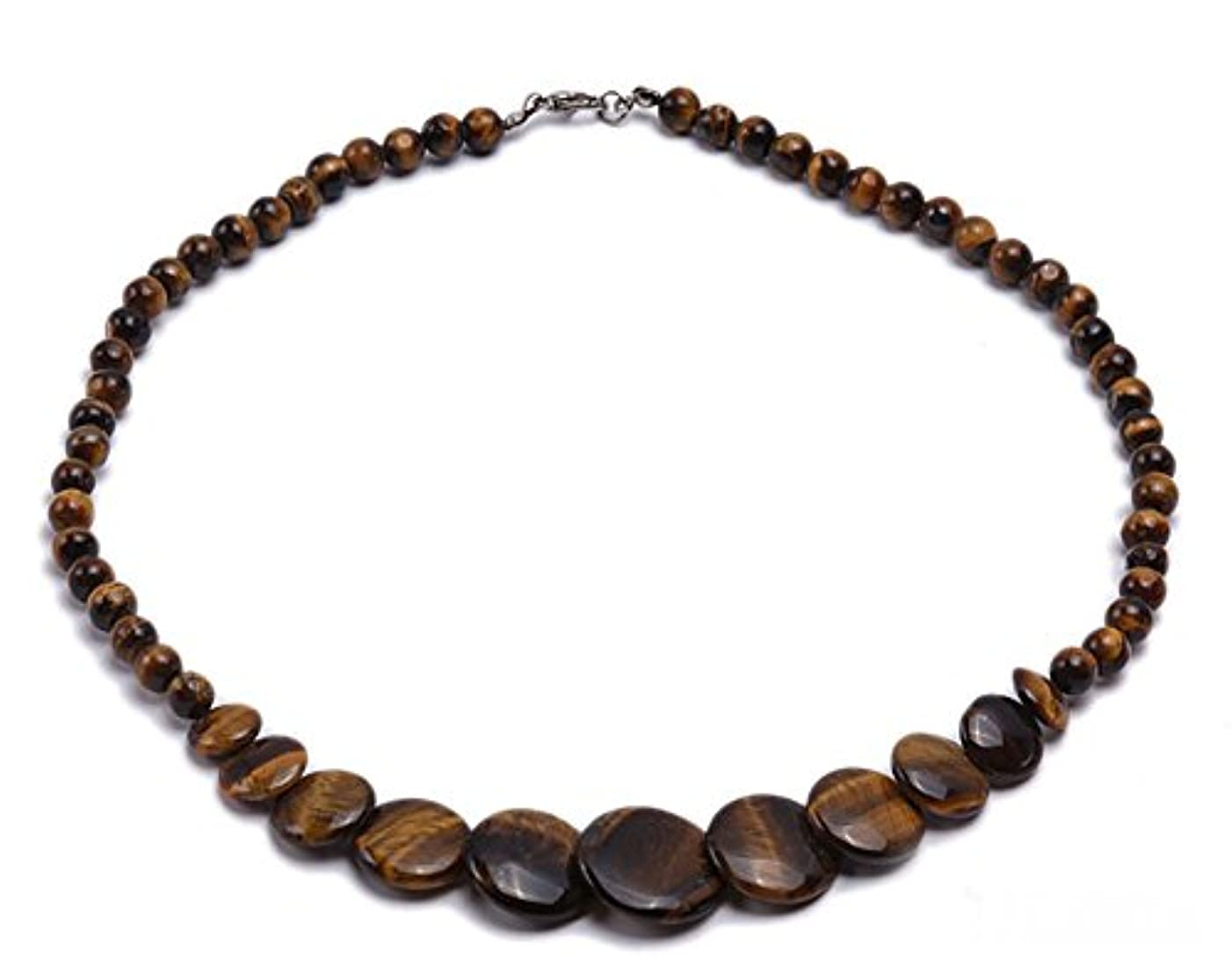 JYX 6mm Tiger Eye Beads and Tiger Eye Pieces Necklace