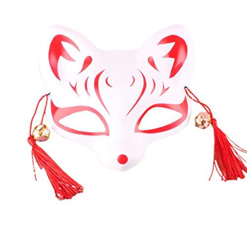 Happyyami Máscara Kitsune máscara de Zorro japonese Cosplay Animal Kabuki Gato máscaras para Halloween Masquerade Ball (Estilo c)
