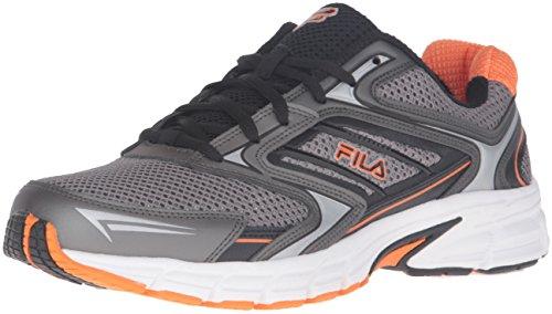 Fila Men's Xtent 4 Running Shoe, Dark Silver/Black/Vibrant Orange, 13 M US
