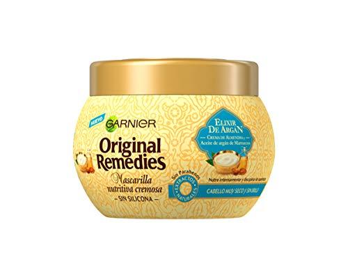 Garnier Original Remedies Elixir de Argán Mascarilla capilar nutritiva cremosa sin silicona para un pelo muy seco y sin brillo - 300 ml