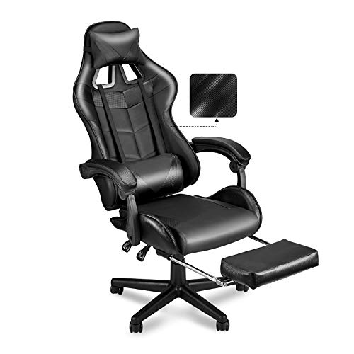 SOONTRANS Ergonomic Home Office Chair,PC Computer Chair,Racing Style Gaming Chair with Retractable Footrest,Adjustable Seat Height and Recliner,Full Armrests,Headrest and Lumbar Support(Dark Black)