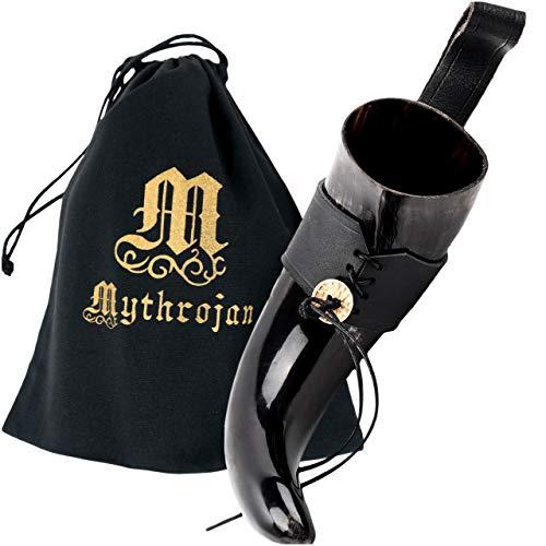 Mythrojan Viking Drinking Horn Black Medieval Beer Drinking Horn Authentic Drinking Horn with Strap Norse Beer Horn Large Drinking Horn Mug Viking Ale Horn Cup 400 ml Viking Drink Horn Replica 13oz