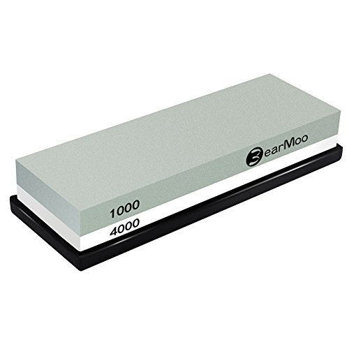 BearMoo Sharpening Stone 2 in 1 Sharpening Stone for Knives 1000/4000 Grit with Non-Slip Silicone Holder