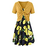 Women Print Dress Summer Sling Long Dress Solid Color Cardigan 2 Piece Set Yellow