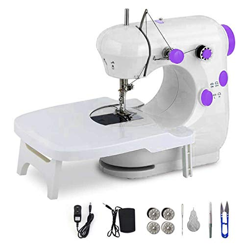 Sewing Machine, Portable Multifunctional Electric Sewing Machine for Beginners, Adjustable Speed 2-Speed Double Thread Sewing Machine with Extension Table, Foot Pedal, Very Suitable for Family Travel