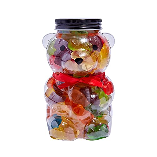 Luxury-Gourmet-Sweets Gummy Bears Jar - Candy Gift-Ready Plastic Jar, Stuffed With Sweet Gummies Candy - 1 LB Gummie Candies In Bear Shaped Container With Stunning Red Bow - Assorted Gummy Candy, Candy Gift For All Occasions.
