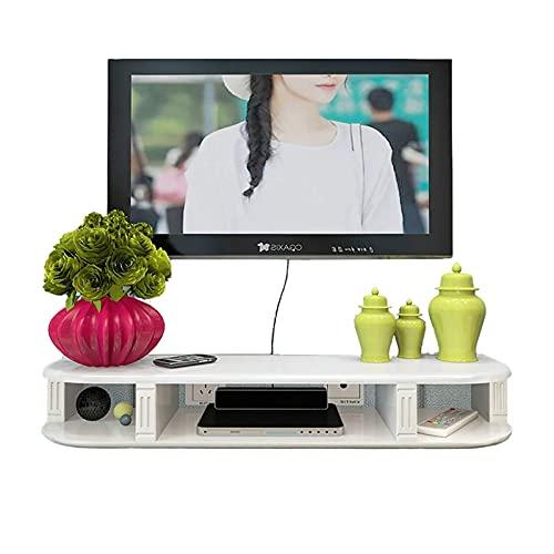 TV-skåp, TV Lowboard, flytande hyllor, flytande TV-stativ komponenthylla, 80/100 / 120 / 150cm väggmonterad ljud/video konsol, vit modern minimalistisk TV-skåp. (Size : 120cm)