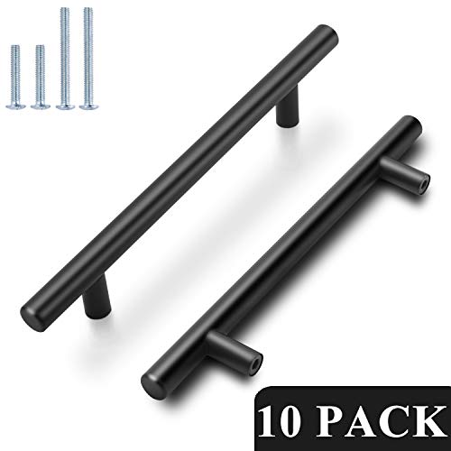 "Probrico Flat Black Modern Cabinet Hardware Cupboard Pull Kitchen Cabinet T Bar Handle Dresser Knobs Set - 5"" Hole Spacing - 10 Pack"