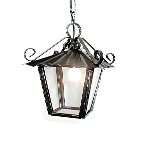 Hängende Laterne in Schmiedeeisen mit Glas Lampenfassung E27