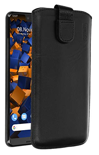 mumbi Echt Ledertasche kompatibel mit Google Pixel 3 XL Hülle Leder Tasche Hülle Wallet, schwarz