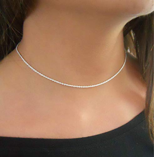Annikabella 925 Sterling Silver Rope Chain Choker Necklace For Women Adjustable Dainty Simple Silver Short Necklace
