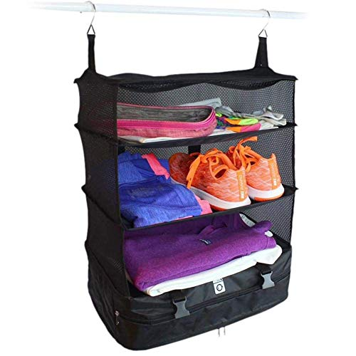 shelf 3 Layer Portable Luggage System Suitcase Organizer - Small, Packable Hanging Travel Shelves & Packing Cube Organizer Rack