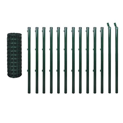 Festnight Kit de Grillage Vert Grillage Cloture Jardin pour Plantes et Animaux en Acier et PVC 1,0 x 25 m