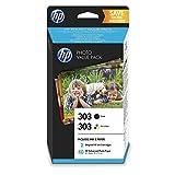 HP 303 Photo Value Pack mit 2 Druckerpatronen (Schwarz, Farbe) & 40 Blatt HP Photo Papier (10 x 15 cm) für HP ENVY Photo 6230, 7130, 7830