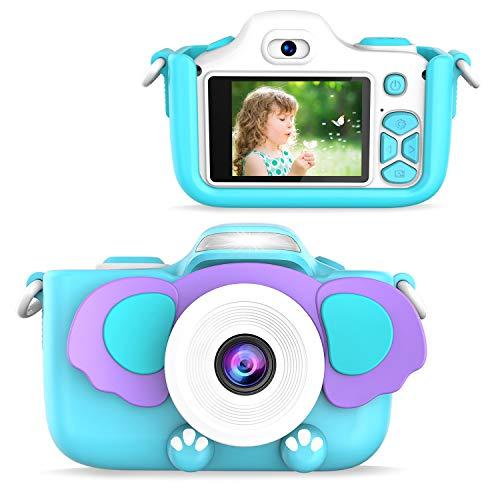FISHOAKY Kamera Kinder, 12MP HD Fotoapparat Digitalkamera Kinder, Fotokamera Camcorder 2 Zoll LCD Bildschirm / 2 Objektive / Selfie / 4X Digitaler Zoom, Weihnachten Geschenk Spielzeug Kinder (Blau)