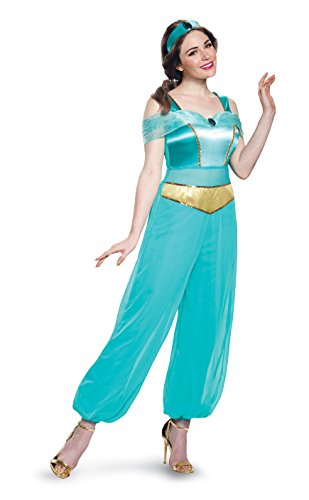 Disguise Women's Jasmine Deluxe Adult Sized Costume, Turquoise, S 4-6 US