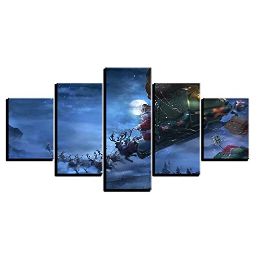 XIAYUU 5 Panel Wall Art Santa Claus On Christmas Eve Snow Background Painting Pictures Prints On Canvas The Picture For Home Modern Decoration Piece Wooden Frame Ready To Hang