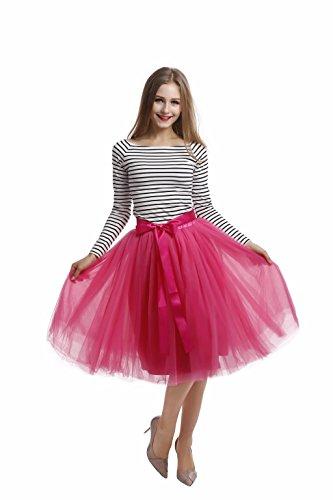 Colleer Sottogonna Tutù Donna 7 Strati Midi Tulle Sottogonna con Cintura 20 Colore Rosso rosato Taglia unica