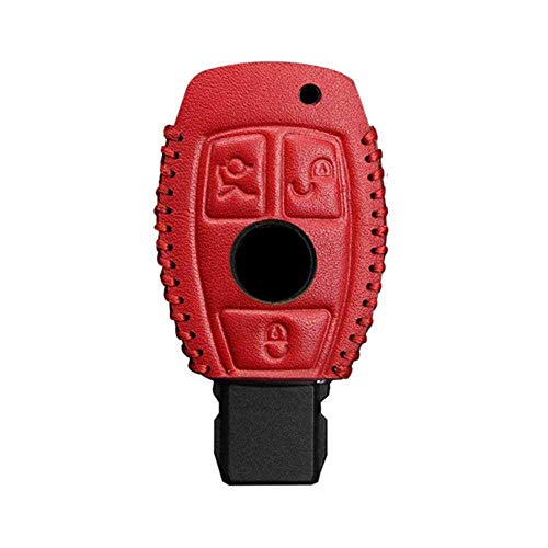 Accesorios de coche Carcasa para llaves, llavero de coche, funda para llave de coche, compatible con Mercedes Benz W203 W210 W211 W124 3 botones, todo rojo