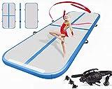 LIUXR Tapis de Gymnastique Gonflable, avec Pompe à air électrique, Tapis de Gymnastique pour Pom-Pom Girl, Salle de Gym, Plage, Salle de Gym, Usage Domestique,Blue_200x100x10cm