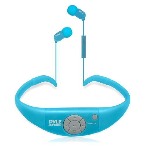 Pyle wasserdichte Kopfhörer mit Freisprecheinrichtung, Bluetooth, mit integriertem Mikrofon blau