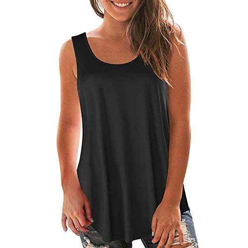 MRULIC Ärmellose Damen Bluse und Kurzarm T-Shirt mit V-Ausschnitt Criss Cross Weiche Lässige Sommer Tanktops mit plissierter Vorderseite Schmale Crop Tops(C-Schwarz,EU-38/CN-L)