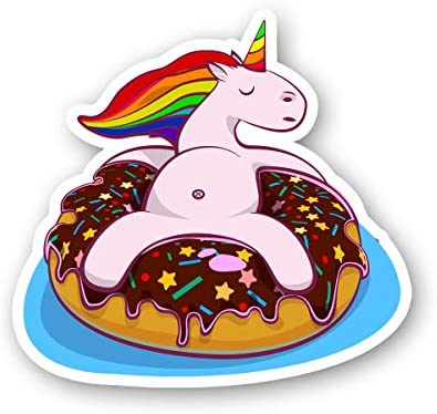 Unicorn On A Donut Floaty Sticker Summer Funny Stickers Laptop Stickers 2 5 Inches Vinyl Decal product image