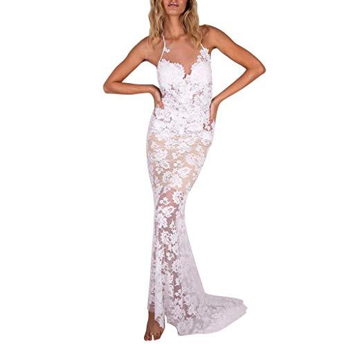 MAYOGO Damen 2 in 1 Spitzenkleid Cocktailkleid Abendkleider für Damen Hochzeit, Rückenfrei Spaghetti Neckholder Kleid Strand Brautkleid Hochzeitskleider