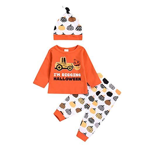 BUKINIE Liquidation Infant bébé garçons Filles à Manches Longues Costume Citrouille d'halloween Cartoon Cartoon Tops + Pantalon + Hat Hat(Orange,18-24 Mois)