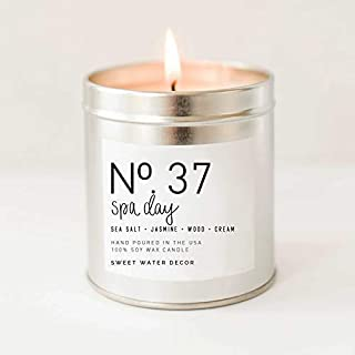 Spa Day Natural Soy Wax Candle Silver Tin Summer Scented Sea Salt Jasmine Wood Cream Spa Candle Modern Rustic Home Decor Bathroom Accessories Relaxation Candle Made in USA Lead Free Cotton Wick