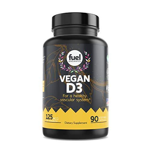 Fuel Organics Vegan Vitamin D3 Supplement︱ 5000 IU︱Best Plant Based & Organic Pure D3 Supplements︱Gluten Free︱90 Capsules︱Free of Sugar, Wheat, Dairies, Artificial Flavors & Colors.