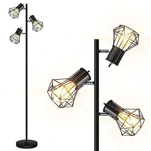 Industrial Floor Lamp, StandingLamp, Farmhouse TreeFloorLamp with 3pcs 6W Edison Bulbs, Free Adjustable Cage Heads, Independent Control, FloorLampforLivingRoom, Bedroom, Office, Rustic Home