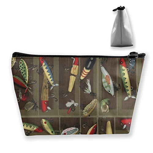 DJNGN Tragbare Vintage Fishing Lure Style Trapez Aufbewahrungstasche Kosmetiktasche Schminktasche Reisetaschen Kulturbeutel Hüllen mit Reißverschluss für Frauen und Mädchen