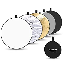 【5-In-1 Light Reflector】ELEGIANT EGP-B04 reflector photography has 4 colors, silver, gold, white and black, and a translucent. Versatile in the field and in the studio, providing shadow-lightening detail in your subject, using available, or studio li...