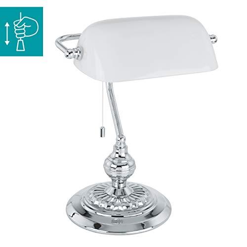 EGLO Tischlampe Banker, 1 flammige Tischleuchte Vintage, Retro, Art Deco, Klassik, Schreibtischlampe aus Stahl und Glas, Nachttischlampe, Bürolampe in Chrom, Weiß, Lampe mit Zug-Schalter, E27 Fassung