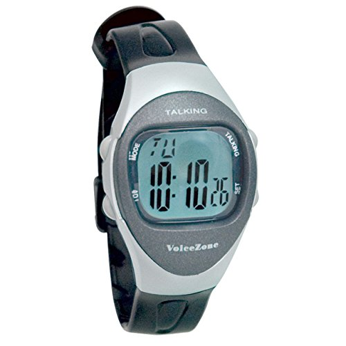 Ladies 4-Alarm Talking Watch - Black - Silver