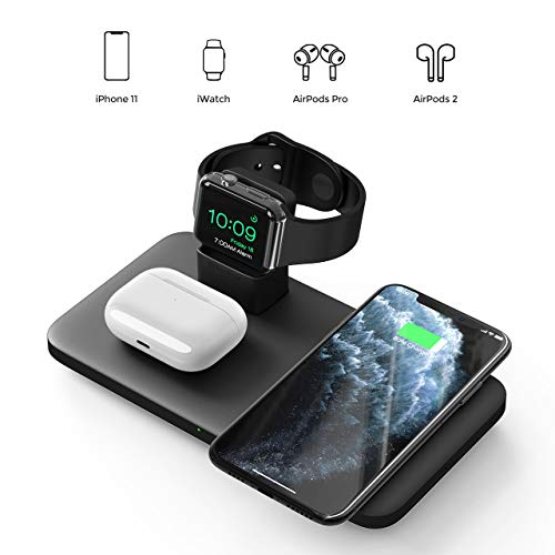 Seneo 3 in 1 Wireless Charger, Wireless Charging Pad for AirPods Pro/2, Charging Station for iWatch 5/4/3/2, 7.5W Qi Fast Charge for iPhone 11/11 Pro Max/SE 2/XR/XS/X/8/8P(No Adapter/iWatch Cable)
