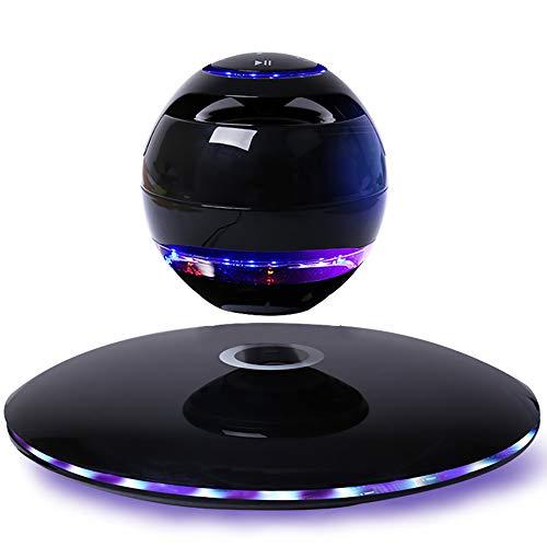 SCZZ Schwebende Lautsprecher, 4.1 Bluetooth 360-Grad-Drehung-Touch-Taste Und LED Blinkt Hauptdekoration Lautsprecher, Mit Android IOS-Telefone Freihändige Anrufe,Schwarz