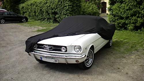 AMS Vollgarage Mikrokontur® Schwarz für Ford Mustang 1 1964-1970, schützende Autoabdeckung mit Perfekter Passform, hochwertige Abdeckplane als praktische Auto-Vollgarage