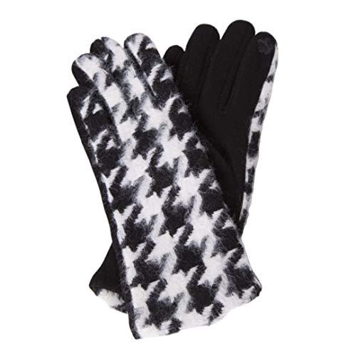 Women's Warm Winter Soft Fashion Gloves Houndstooth Pattern Checkered Design Touch Screen Smartphone