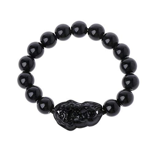 Wonderful Day Pulsera de Cuentas de Piedra Hombres Mujeres Unisex Pulsera de obsidiana Feng Shui Chino Oro Riqueza y Buena Suerte Pulseras de Mujer, Negro
