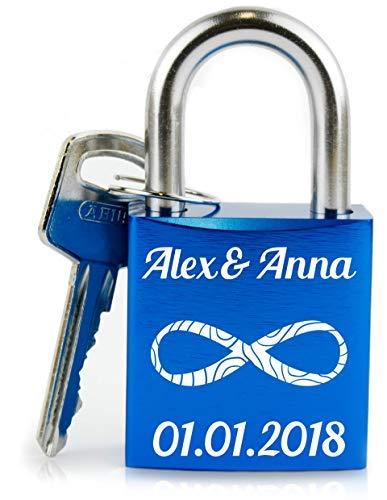 Geschenkfreude personalisiertes Liebesschloss mit Gravur und Schlüssel wahlweise mit Geschenkverpackung/rotes Schloss mit Gravur/ideales Hochzeitsgeschenk/rot (Liebesschloss Blau)
