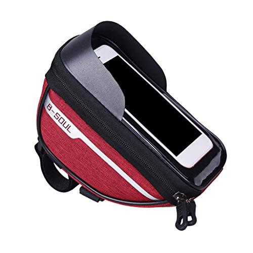 Perfeclan Bolso de Marco Frontal del teléfono de la Bicicleta Mango de la Bicicleta a Prueba de Agua Barra Montaje del teléfono del Ciclismo Paquete con TPU - Rojo