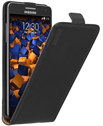 mumbi Echt Leder Flip Case kompatibel mit Samsung Galaxy A5 2015 Hülle Leder Tasche Case Wallet, schwarz