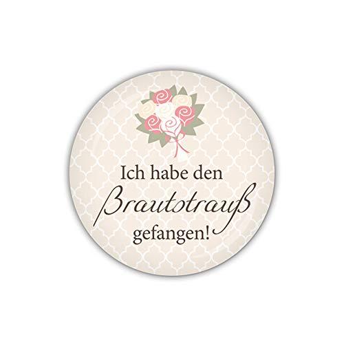 lijelove® Button 38mm Ø Darling Ich Habe den Brautstrauß gefangen! (Art. 04-021W)