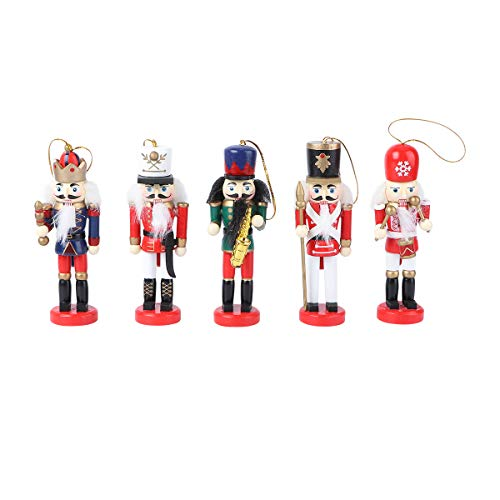 SOIMISS 5Pcs 12CM Classic Holz Walnuss Soldat hängen Nussknacker Puppet Soldat Spielzeug