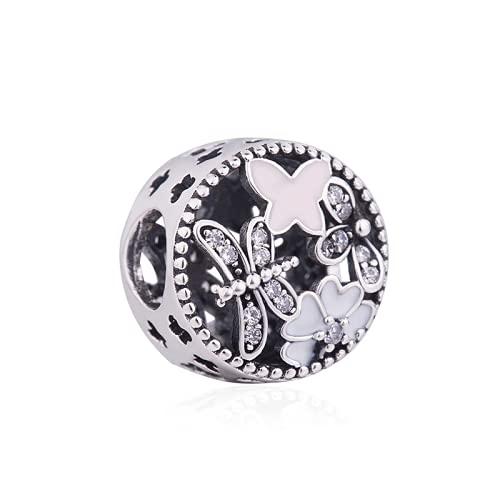 ZHANGCHEN 925 Sterling Silver Bead Charm Vintage Ażurowe Wiosna Koraliki Kobiety Zapiekanka Bransoletka i Naszyjnik Biżuteria DIY